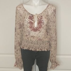 LAUNDRY BY SHELLI SEGAL silk embroidered  blouse
